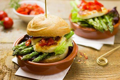 Asparagus, Burger, Vegetarian, Hamburger, Eat, Healthy