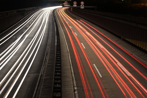 Highway, Long Exposure, Auto, Night, Spotlight, Tracer