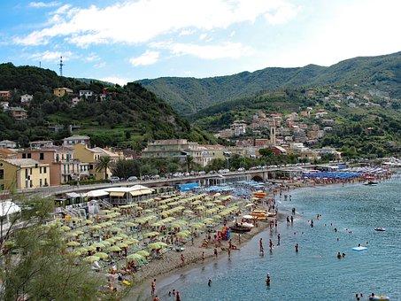 Moneglia, Italy, Liguria, Beach, Umbrellas, Parasol