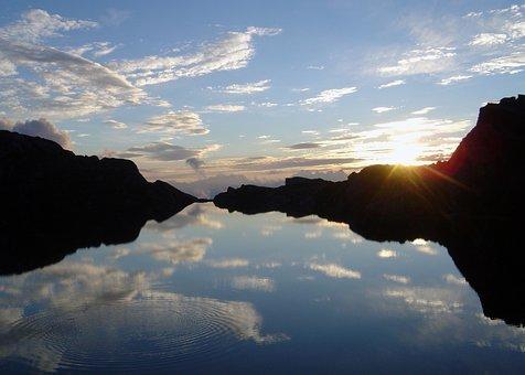 Lac Des Veaux, Switzerland, Sunset, Lake, Europe, Water