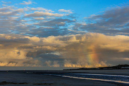 North Sea, Natural Spectacle, Rainbow, Beach, Water