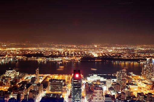 New York, Skyline, Night, Long Exposure