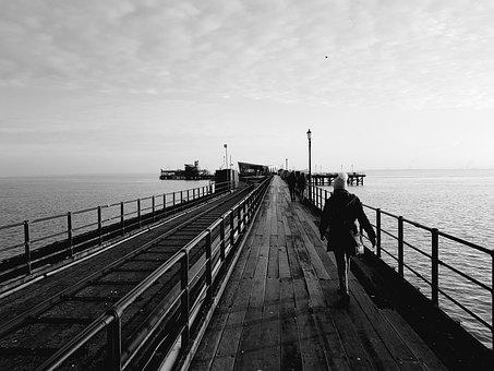 Black White, Pier, Sea, Southend