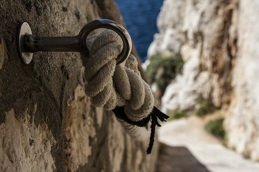 Rope, Passes Hand, Glimpse, Sea, Stairs, Rocks
