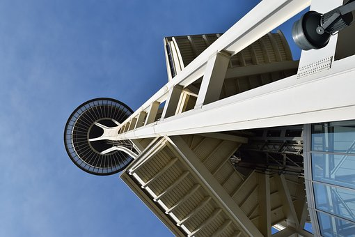Space Needle, Seattle, Blue Sky, Architecture