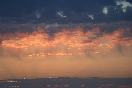 Sky, Blue, Red, Orange, Morning, Sunrise, Blue Sky