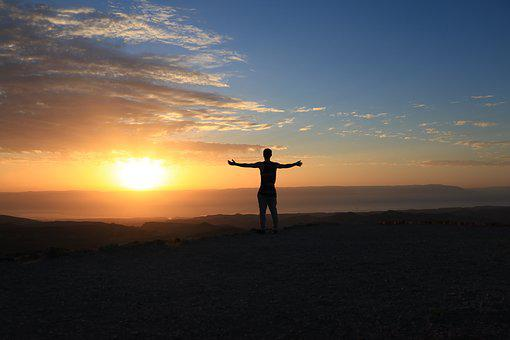 Positive, Fun, Morning, Sky, Sunrise, Blue, Orange