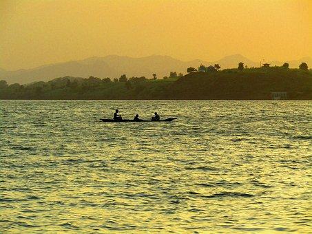 River, Sunset, Riverside Sunset, Narmada River