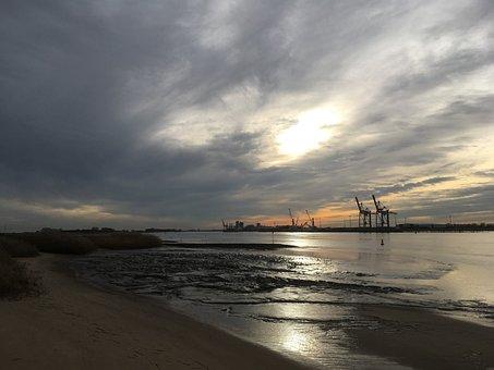 Weser, Brake, Sand Stedt, Sky, Cranes, River
