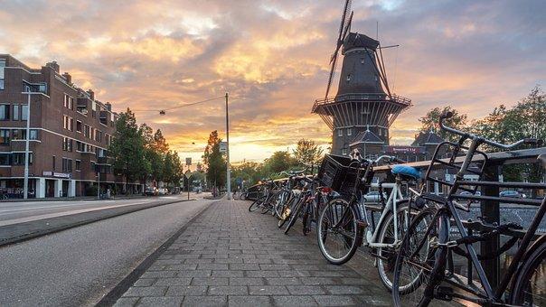 Holland, Netherlands, Windmill, Coffee Shop, Bike
