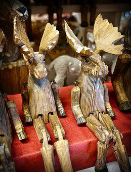 Carving, Moose, Wooden, Decoration, Handicraft