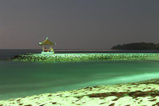 Beach, Night, Bali, Indonesia, Sand, Colors