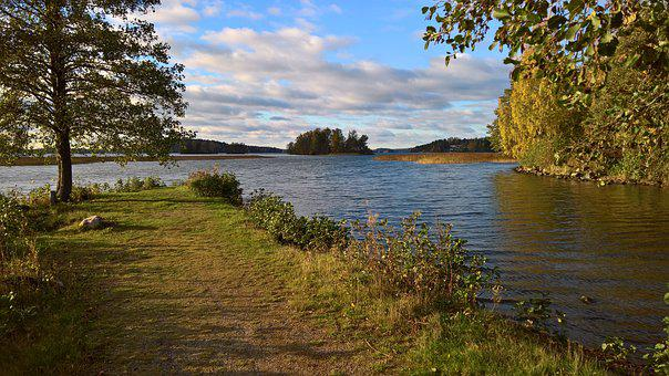 Autumn, Lake, Beach, Water, Finnish, Nature, Tree