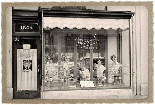 Beauty, Parlour, Window, Display, Sepia, Antique