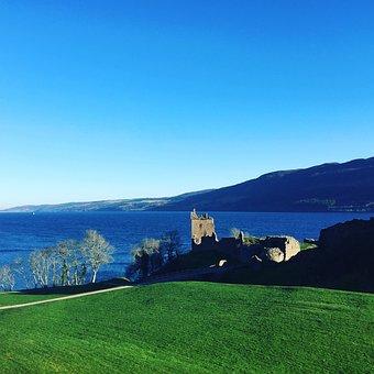 Scottish, Castle, Sea, Scotland, Building, Landscape