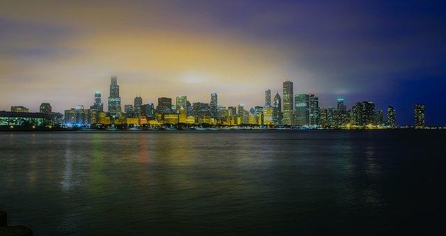 Chicago, Illinois, Sunset, Dusk, Lake Michigan