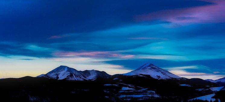 Colorado, Panorama, Sunset, Dusk, Sky, Clouds