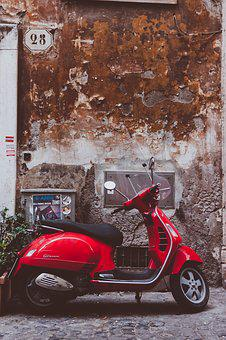 Vespa, Red, Fun, Motor Scooter, Cult, Vehicle, Moped