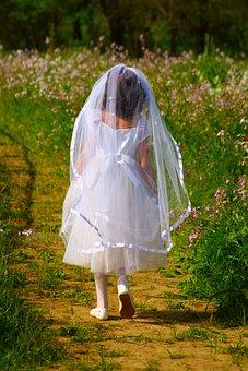 First Holy Communion, White Dress, Girl, Child