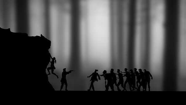 Zombies, Silhouette, Girl, Boy, Gun, Halloween, Scary