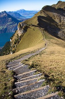 Mountain Trail, Trail, Stairs, Gradually, Fronalpstock