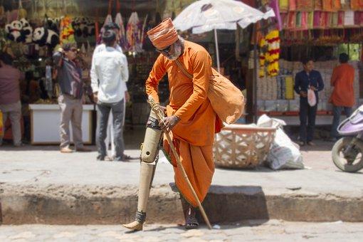 Yogi, Handicapped, Hinduism, Temple, Indian, Sadhu