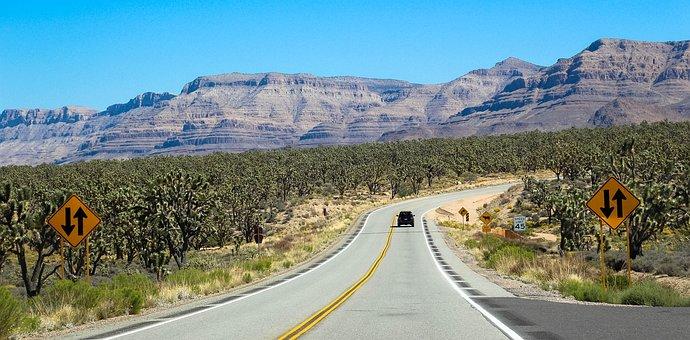 Desert, Usa, Street, Sign, America, Trees, Mountain