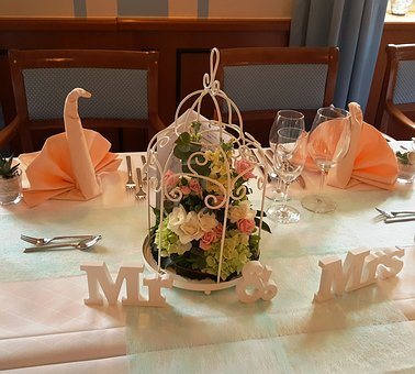 Mr Mrs, Wedding, Eingedeckter Table