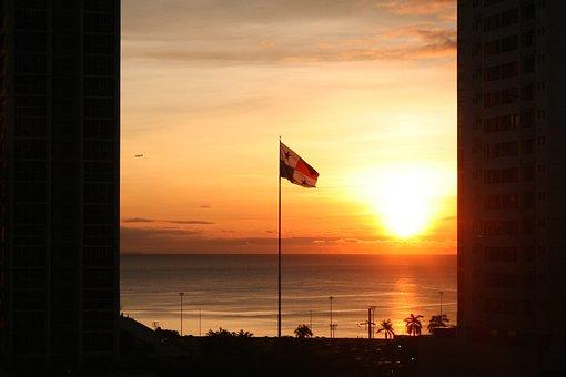 Flag, Panama, Ocean, Sunrise, Central America, Capital