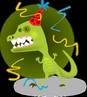 Party Animal, Monster, Celebration, Character, Dinosaur
