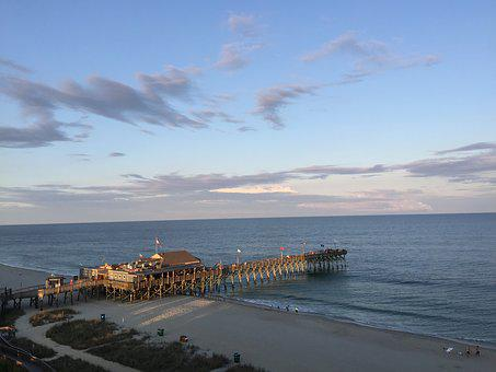 Pier 14, Beach, Ocean, Carolina, Water, Pier, Shore