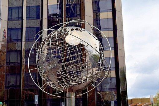 Globe, Sculpture, Skyscraper, Manhattan, Nyc, New, City