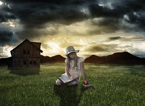 Meadow, The Little Girl, Dark, Book, Apple, Hat