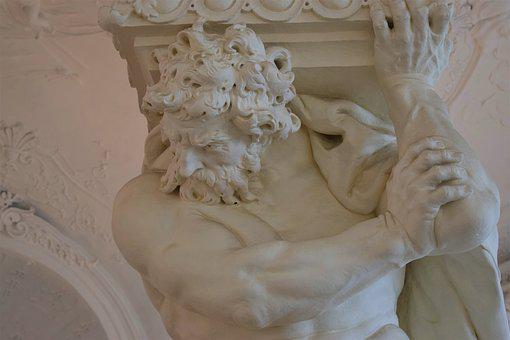 Statue, Column, Castle, Vienna, Belvedere, Atlas