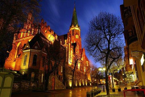 Church, Night, Lit, The Gothic, Sopot, Street, Shops