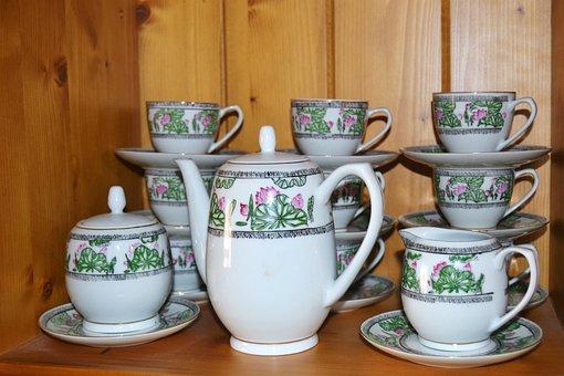 Cofee, Tea, Dishes, Breakfast, Crockery, Old, Showcase
