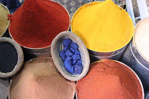 Bleu Majorelle, Color, Spices, Spice Stand, Market