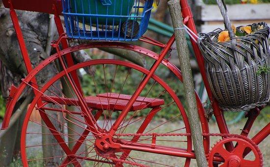 Bike, Old, Red, Turned Off, Deco, Broken, Forget, Retro