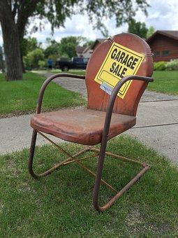 Garage Sale Sign, Rusty, Rusty Metal Chair, Vintage