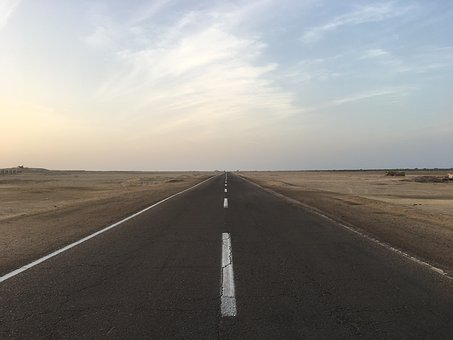 Road, Egypt, Horizon, Marsa Alam, Wide, Clouds, Free