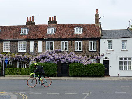 House, Architecture, Bike, Cyclist, High Street, Road