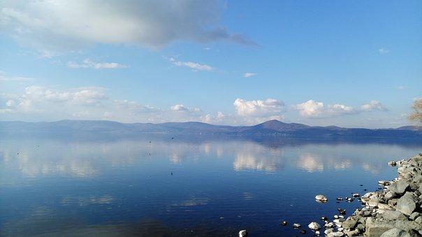 Lake Bracciano, Sky, Water, Clouds