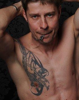 Man, Portrait, Male, Tattooed, Muscular, Naked, Sexy