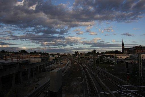 Rail, Train, Sunset, Railway, Transport, Transportation
