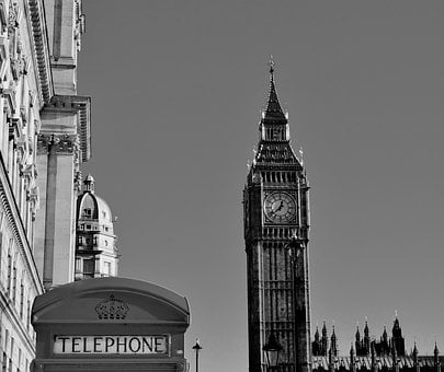London, Uk, Big Ben, Telephone, Vintage, Building