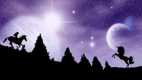 Unicorn, Night, Mythical Creatures, Gorgeous