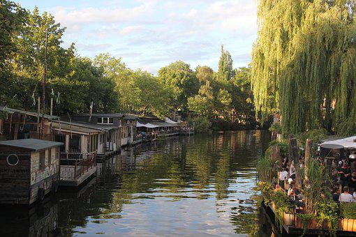 Berlin, Germany, River, Trees, Landscape, View