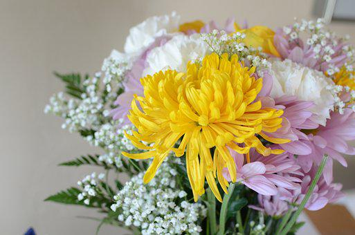 Flowers, Bouquet, Yellow, Pink, White, Chrysanthemums