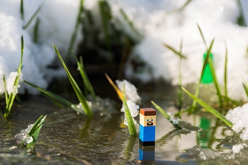 Minecraft, Steve, Creeper, Toys, Winter, Ice, Miniature