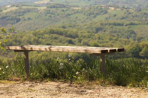 Bench, Landscape, Nature, Rest, Field, Calm, Zen